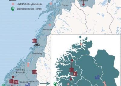 Map of UNESCO designation in Norway