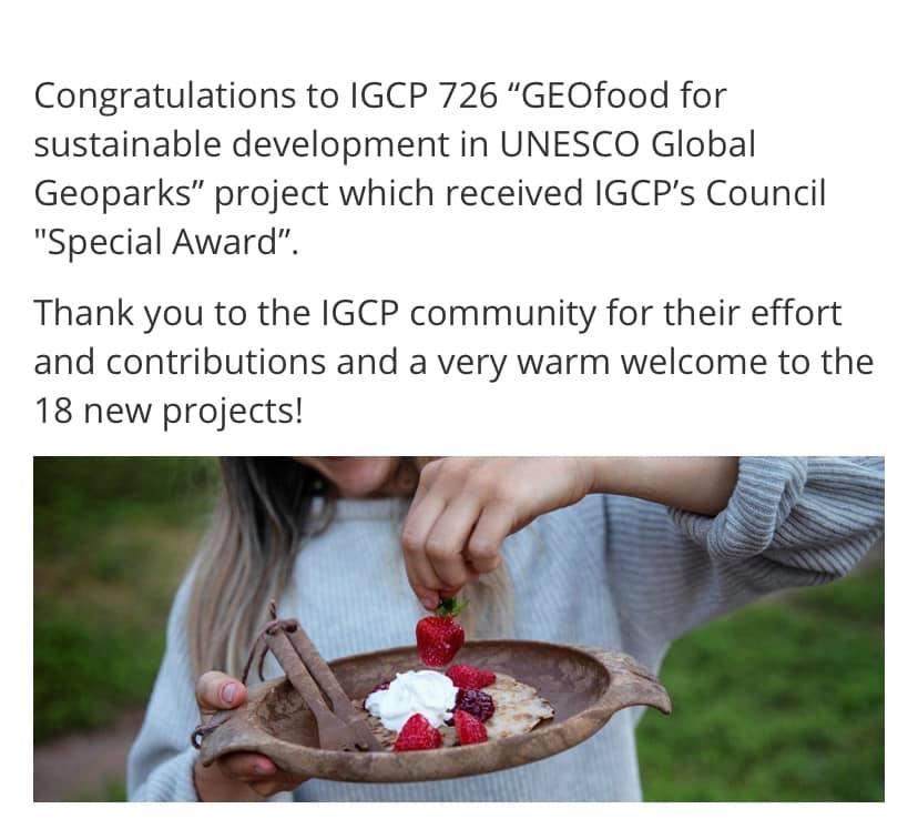 Geofood er blitt anerkjent som det beste prosjektet 2021 av IGCP!